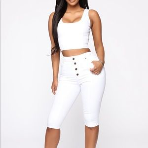 Fashion Nova white denim short & top set